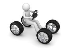 Homme conduisant le véhicule imaginaire Images libres de droits