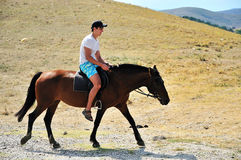 Homme conduisant un cheval Images stock