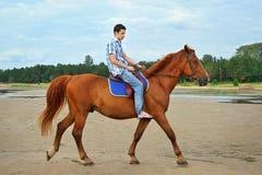Homme conduisant un cheval Photos stock