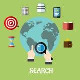 Homme conduisant une recherche globale Photographie stock libre de droits