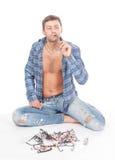 Homme conscient de mode avec des glaces Photos libres de droits