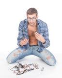 Homme conscient de mode avec des glaces Image stock