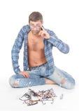Homme conscient de mode avec des glaces Photos stock
