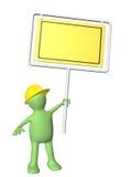 homme-constructeur 3d avec le panneau d'affichage de secours Images libres de droits