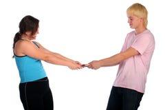 Homme contre la femme. Ligne de partage. Images stock