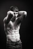 Homme convenable avec les muscles sexy d'abdomen images libres de droits