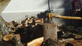 Homme coupant le bois avec une hache 14 banque de vidéos