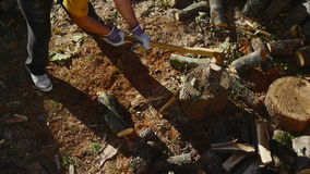 Homme coupant le bois avec une hache 04 banque de vidéos
