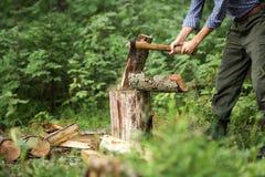 Homme coupant le bois dans la forêt Photographie stock