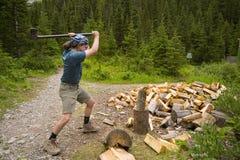 Homme coupant le bois de chauffage image libre de droits