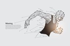 Homme courant Ligne concept d'art de mouvement de point Photos libres de droits