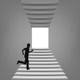 Homme courant sur l'escalier à travers le concept Photo stock