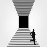 Homme courant vers le bas sur l'escalier à travers le concept Images libres de droits