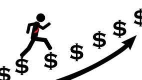 Homme couru sur des dollars Image libre de droits