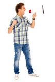 Homme criant par le mégaphone Image stock