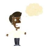 homme criard de bande dessinée avec la bulle de pensée Photographie stock libre de droits