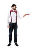 Homme démodé se dirigeant avec le grand crayon Photo libre de droits