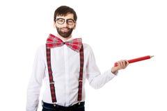 Homme démodé se dirigeant avec le grand crayon Image libre de droits