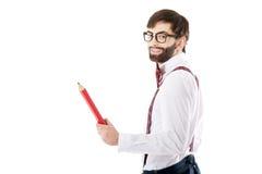 Homme démodé se dirigeant avec le grand crayon Images stock