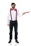 Homme démodé se dirigeant avec le grand crayon Images libres de droits