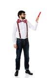 Homme démodé se dirigeant avec le grand crayon Photo stock