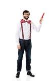 Homme démodé se dirigeant avec le grand crayon Photographie stock libre de droits