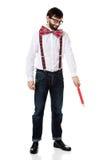 Homme démodé se dirigeant vers le bas avec le grand crayon Image libre de droits