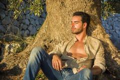 Homme détendant à la lumière du soleil chaude à la base de l'arbre images libres de droits