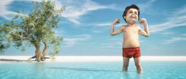 Homme détendant sur la plage illustration de vecteur
