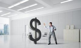 Homme déterminé de banquier dans le chiffre de rupture intérieur du dollar de bureau moderne illustration stock