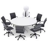 homme 3d à la table ronde. Sept chaises vides Images stock