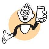 Homme d'émotion de Stickman avec le téléphone portable illustration stock