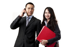Homme d'équipe d'affaires et verticale de femme Photo libre de droits