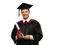Homme d'étudiant gradué d'isolement sur le blanc Photographie stock