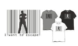 Homme d'évasion de code barres illustration stock