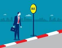 Homme d'affaires à l'arrêt d'autobus Illustration d'affaires de concept Image libre de droits