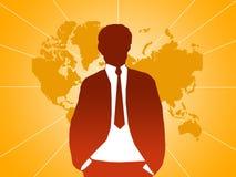 Homme d'affaires à la carte orange Photographie stock libre de droits
