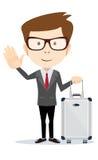 Homme d'affaires élégant avec la valise en dehors de l'aéroport, Photographie stock