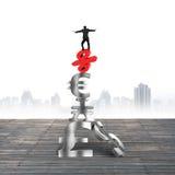 Homme d'affaires équilibrant sur des symboles monétaires rouges de livre de signe de pour cent Photo stock