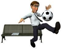 homme d'affaires 3d et également jeu de joueur de football Photographie stock libre de droits