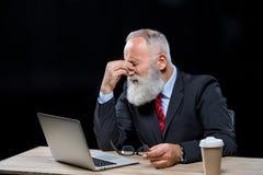 Homme d'affaires aîné avec l'ordinateur portatif Photo libre de droits