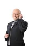 Homme d'affaires aîné heureux au téléphone Photo libre de droits