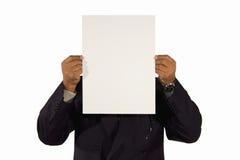 Homme d'affaires aîné présent un panneau Photos stock