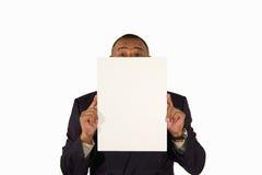 Homme d'affaires aîné présent un panneau d'illustration Photo libre de droits
