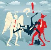Homme d'affaires abstrait dans bon contre le conflit mauvais Images stock