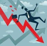 Homme d'affaires abstrait Falls en bas du diagramme de ventes. Images libres de droits