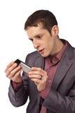 Homme d'affaires adulte sur le fond d'isolat Image stock