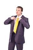 Homme d'affaires adulte sur le fond d'isolement Photos libres de droits