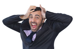 Homme d'affaires affolé criant dans la colère photos libres de droits