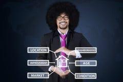 Homme d'affaires africain tenant des icônes de valeur d'une propriété images stock